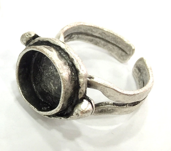 Antique Silver Plated Brass G3523 23x16mm Blank Silver Ring Bezel Ring Blank Adjustable