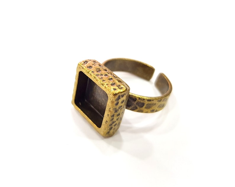 Antique Bronze Plated G16344 10x10mm blank Antique Bronze Ring Blank Setting Cabochon Base inlay Ring Backs Mounting Adjustable Ring Bezel