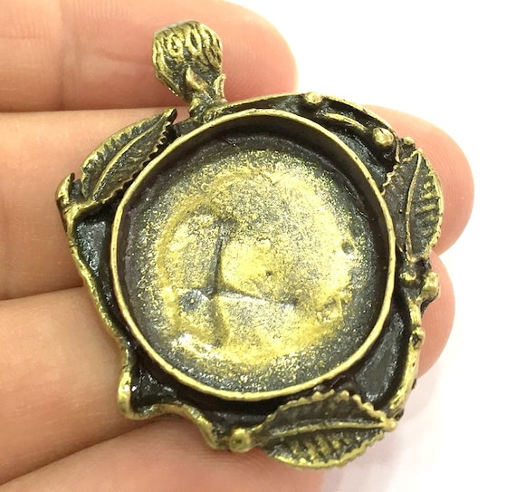 10mm blank 2 Pcs Antique Bronze Brass Blank Mountings  G5475