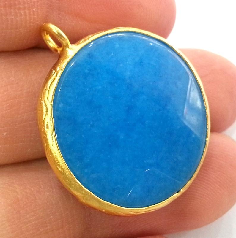 Gold Plated Bezel G1932 26 mm Blue Pendants