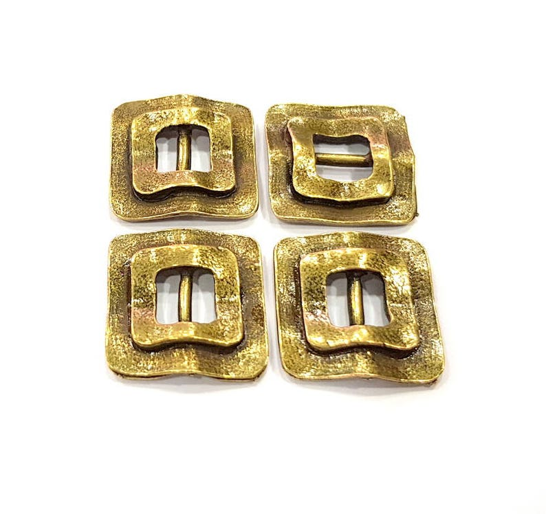 G10476 20x20mm 4 Antique Bronze Connector Charm Antique Bronze Plated Metal Charms