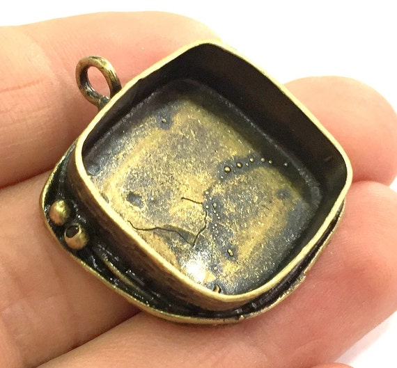 Mountings  G5435 30x22mm blank Antique Bronze Brass Blank