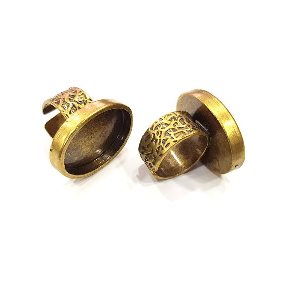 20mm blank Antique Bronze Plated G15638 Antique Bronze Ring Blank Setting Cabochon Base inlay Ring Backs Mounting Adjustable Ring Bezel