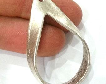 2 Silver Pendant Antique Silver Plated Drop Pendant 2 Pcs (42x25 mm)  G9565