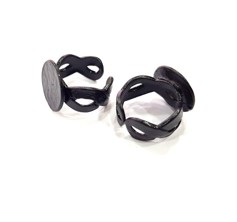 Black Plated Brass G15047 Black Ring Blank Settings Cabochon Mountings 16 mm blank