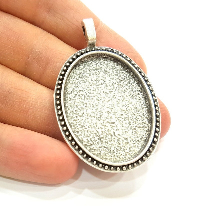 Silver Pendant Blank Bezel Base Setting Necklace Blank Mountings Antique Silver Plated 38x28mm G7264