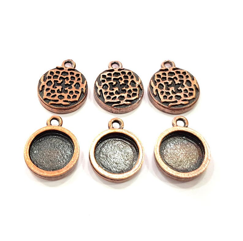 12 mm round blank G11501 6 Copper Pendant Blank Mosaic Base inlay Blank Necklace Blank Resin Mountings Antique Copper Plated Metal