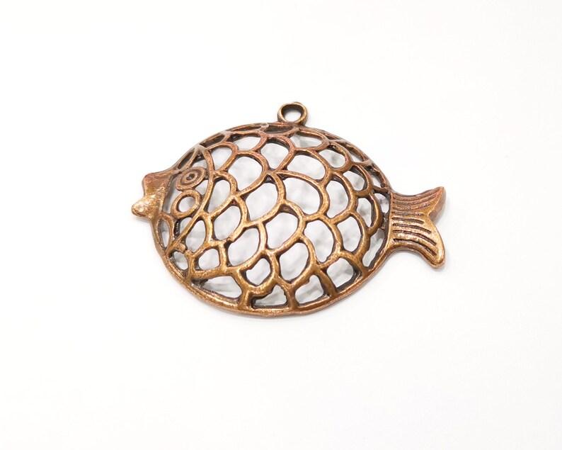 Fish Pendant Antique Copper Plated Metal G17360 57x48mm