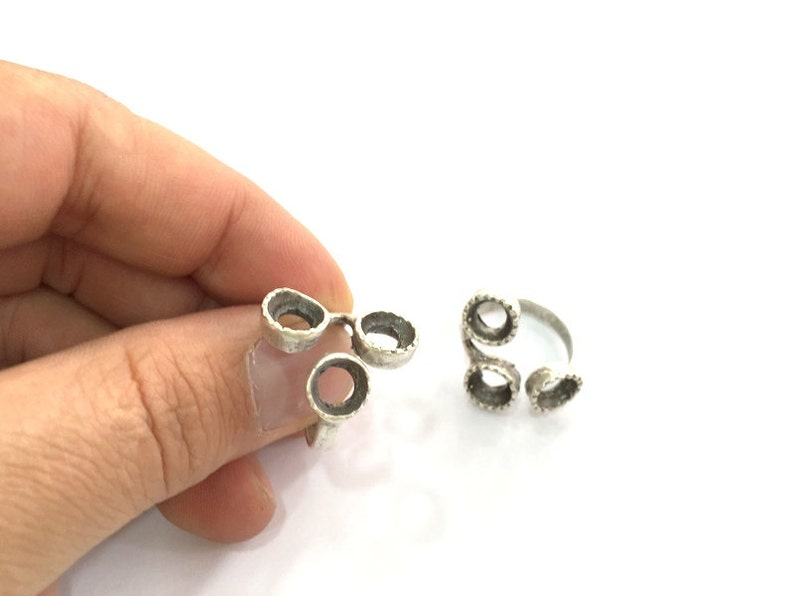 Silver Ring Blank Base Bezel Settings Cabochon Base Mountings Adjustable Antique Silver Plated Brass G3500 8mm Blank