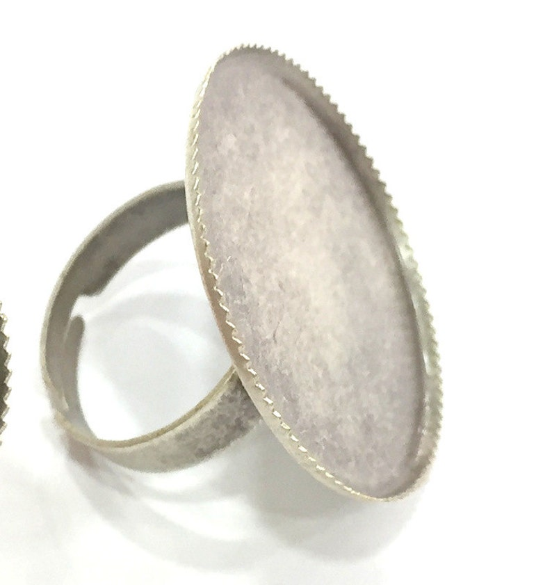 Antique Silver Plated Brass Adjustable Ring Blank G3976 5 Pcs 25mm