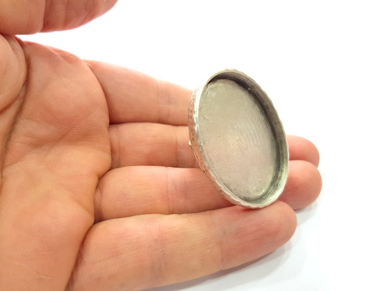 Ring Blank Setting Hammered Ring Base Bezel inlay Ring Backs Glass Cabochon Mounting Adjustable Antique Silver Plated Ring G16061 40x30mm