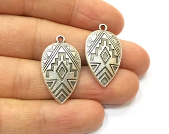 4 Silver Charms Antique Silver Plated Charms (30x18mm)  G18415