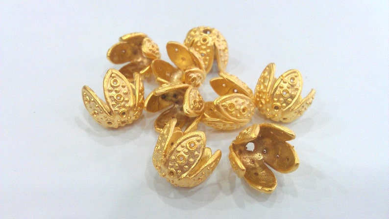 Gold Plated Brass 13x14 mm G13938 2 Cone Findings