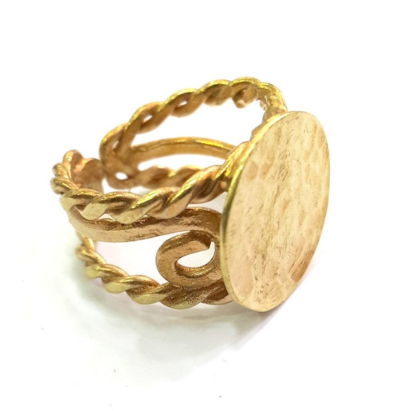 5 Raw Brass 4 Claw Ring Blanks for Natural Stones N119 Claw Ring Blank