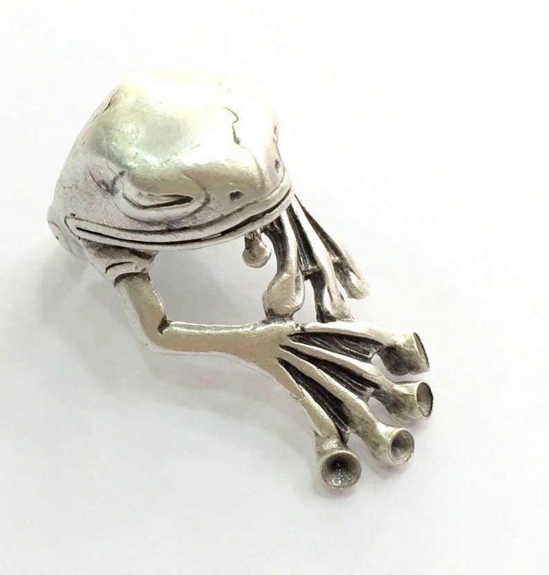 3mm blank Frog Ring Blank Adjustable Ring Blank, Antique Silver Plated Brass G5905