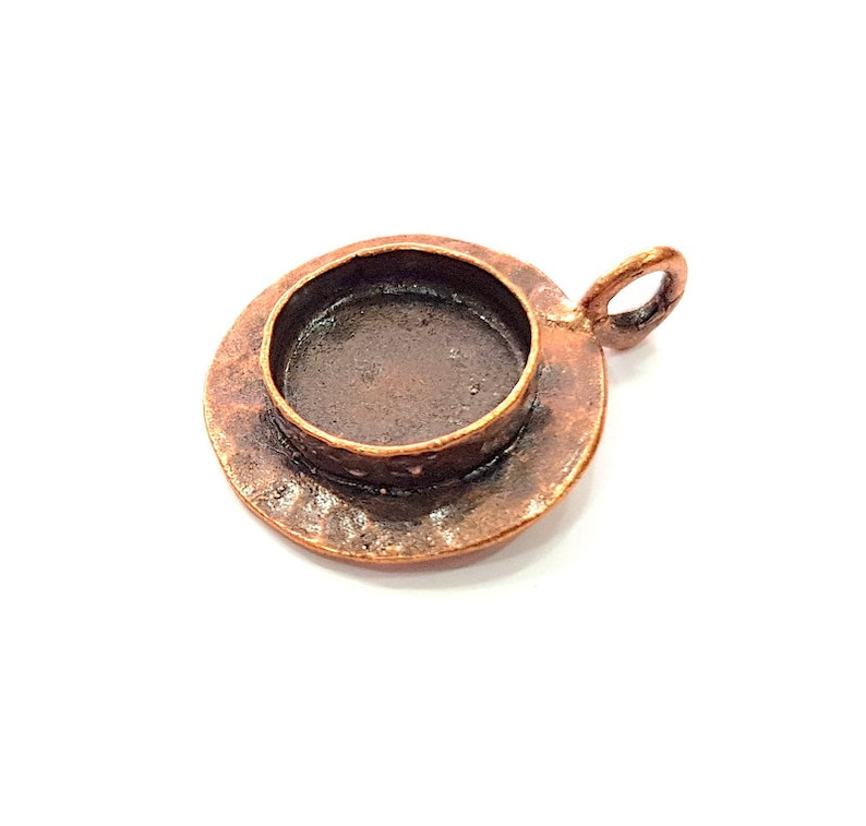 Antique Copper Pendant Blank Mosaic Base Blank inlay Necklace Blank Resin Blank Mountings Copper Plated Brass 16 mm blank G13242