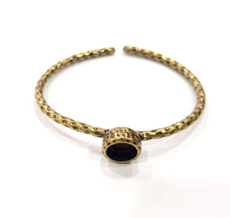 8mm G16014 Bracelet Blank Cuff Bezel Resin Bangle inlay Blank Glass Cabochon Base Bezel Hammered Adjustable Antique Bronze Bracelet