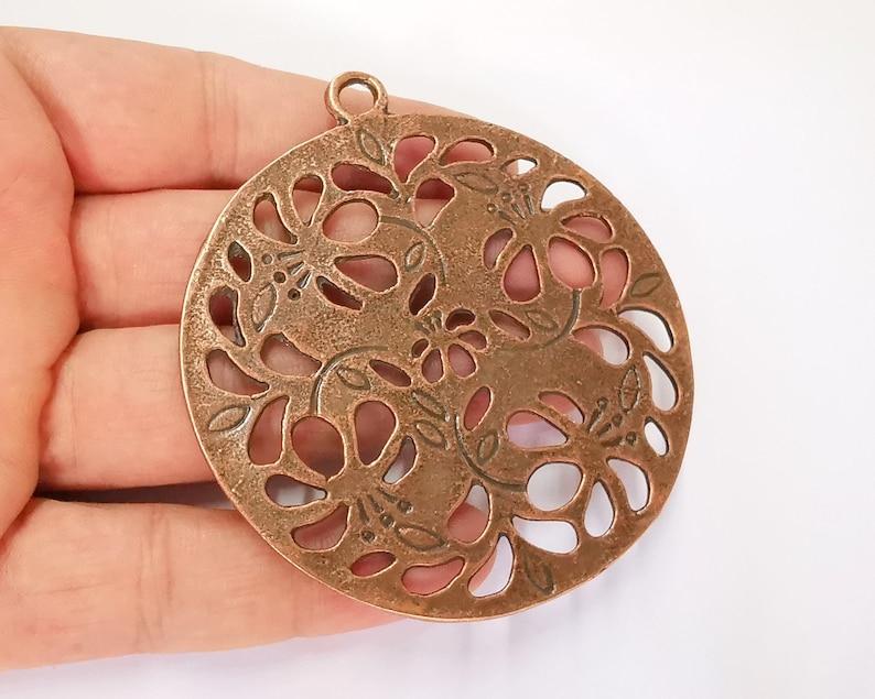 G22775 80x72mm Flowers Round Pendant Antique Copper Plated Pendant