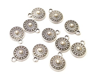 20 Silver Charms Antique Silver Plated Charms (9mm)  G17806