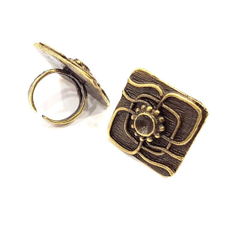 6mm Blank Antique Bronze Ring Blank Ring Setting inlay Blank Mosaic Bezel Base Cabochon Mountings Antique Bronze Plated Brass G10164