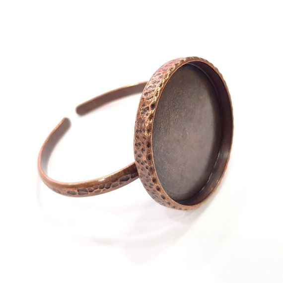 8mm G16350 Black Bracelet Blank Cuff Bezel Resin Bangle inlay Blank Glass Cabochon Base Bezel Hammered Adjustable Black Bracelet