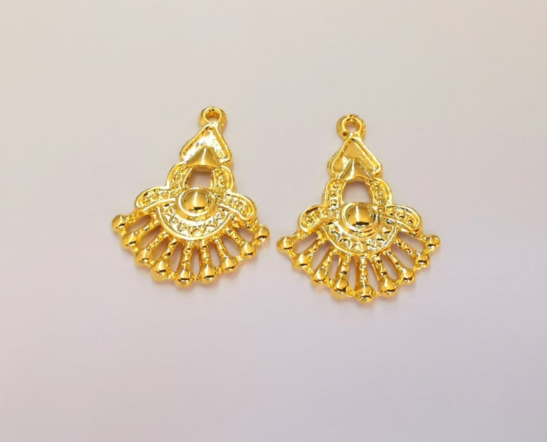 G23019 25x19mm 4 Gold Charms 24K Shiny Gold Plated Charms