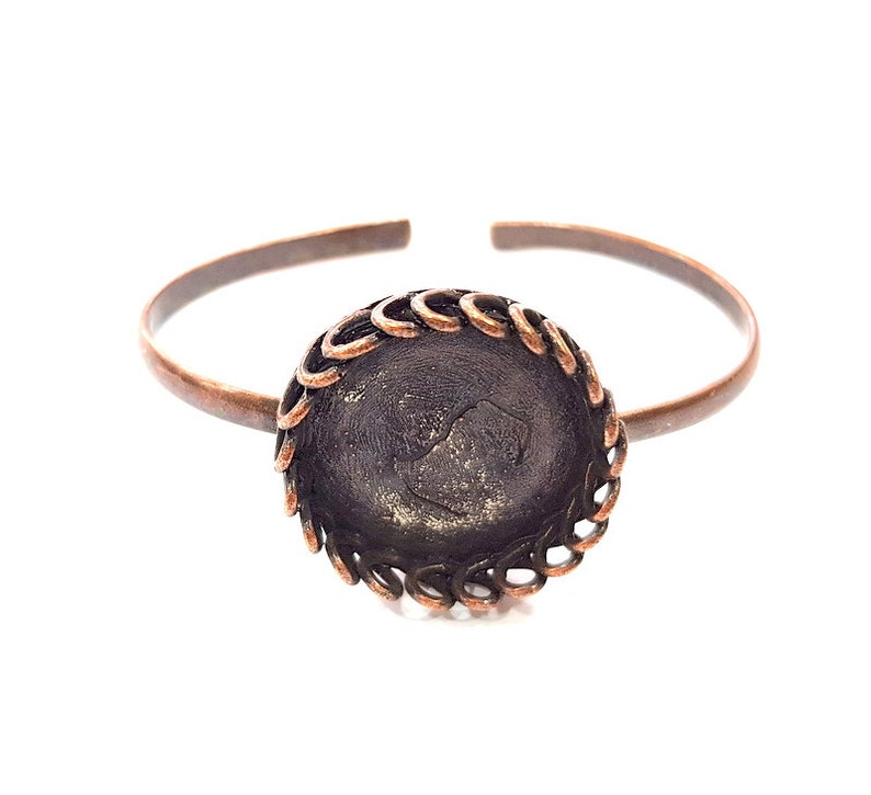 Copper Bracelet Blanks  Cuff Blanks Adjustable Bracelet Blank Antique Copper Plated Brass 25mm Blanks G13586