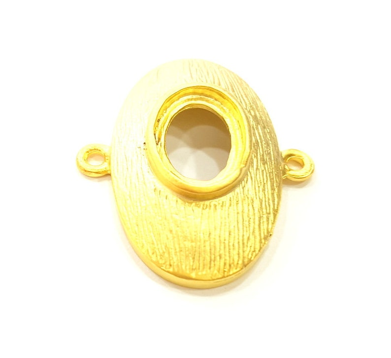 G6700 33x29mm 2 Gold Pendant Blank Gold Plated Connector