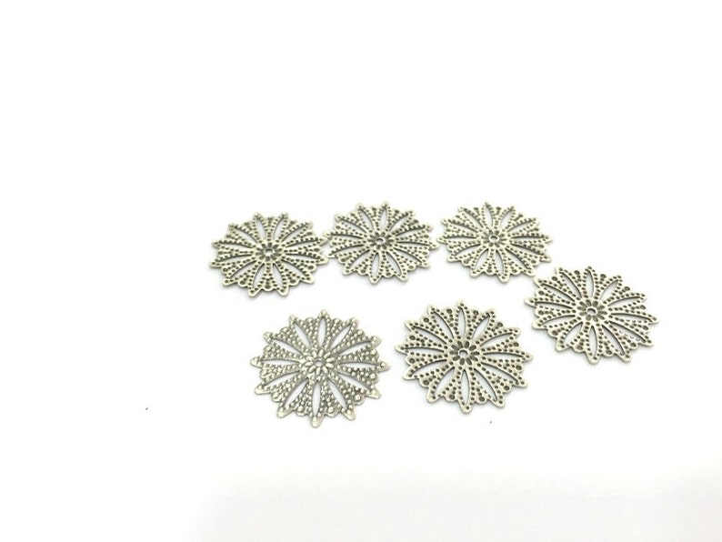 25mm 300 Pcs Antique Silver Plated Brass Charms   G4674
