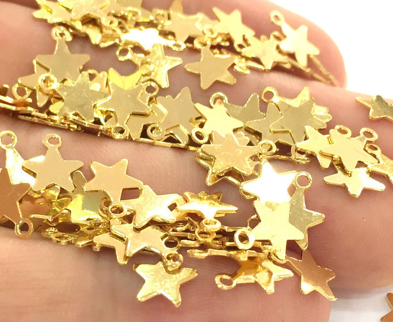 20 Gold Star Charms 8 mm  Gold Plated Brass G3789 image 0