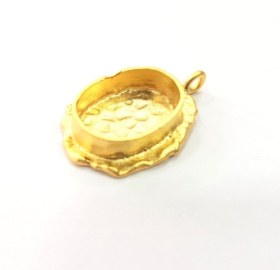 Gold Pendant Blank Mosaic Base inlay Blank Necklace Blank Resin Blank Mountings Gold Plated Brass 25x18mm+18x13mm+14x10mm blank G14864