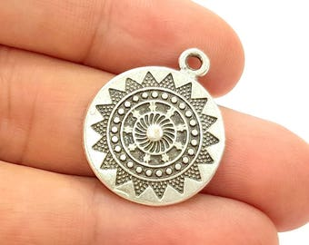 4 Silver Charms Antique Silver Plated Charms (22mm) G8019