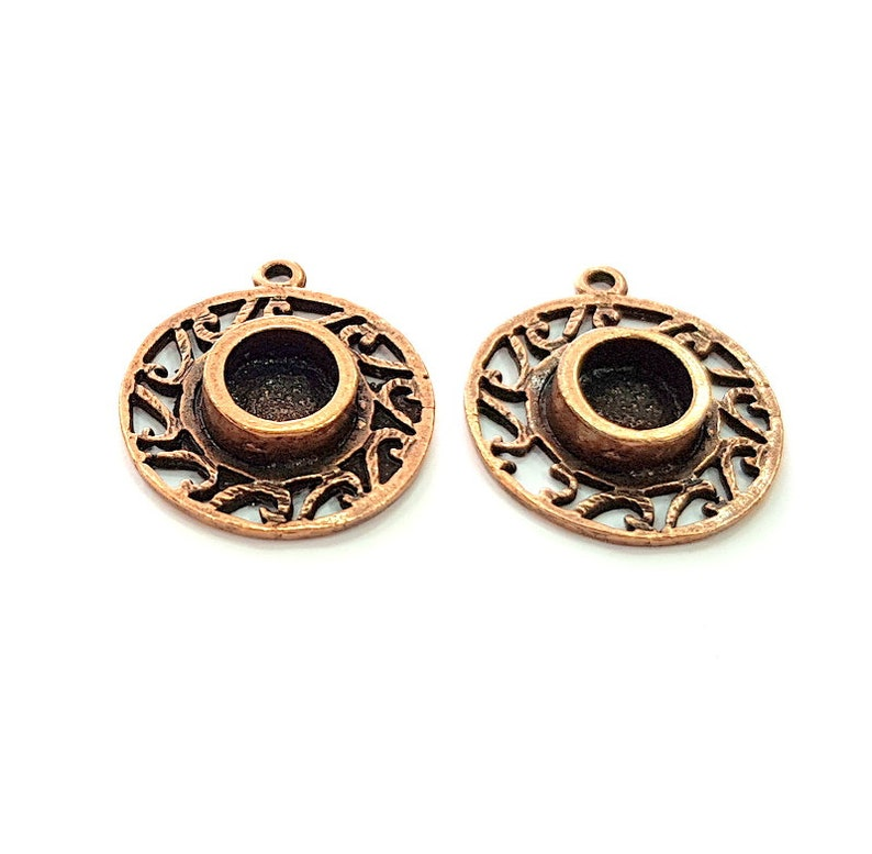 2 Copper Pendant Blank Mosaic Base inlay Blank Necklace Blank Resin Mountings Antique Copper Plated Metal G17052 8 mm round blank