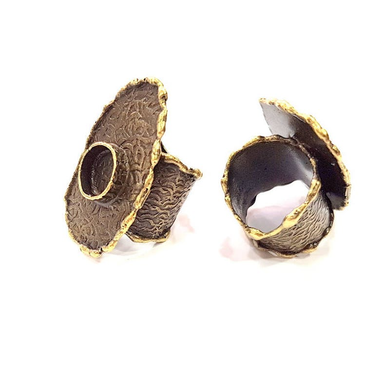 Antique Bronze Plated Brass G8974 10mm Blank Antique Bronze Ring Blank inlay Ring Blank Mosaic Bezel Base Settings Cabochon Mountings