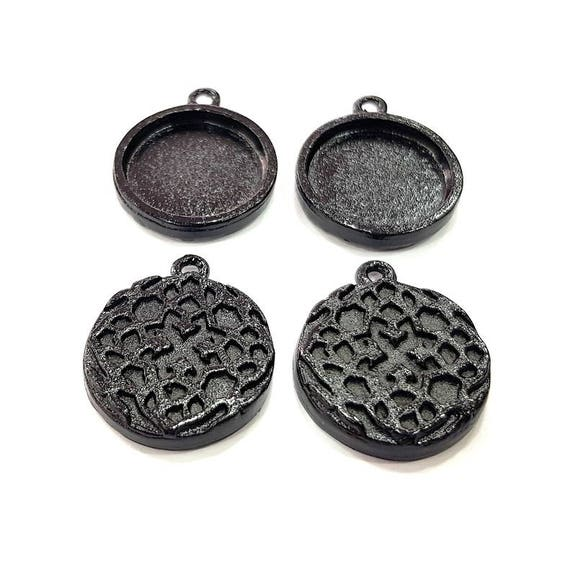 G12132 4 Black Pendant Blank Connector Resin Blank inlay Base Blank  Cabochon Mounting Charm Black Plated Metal 20x15mm oval blank