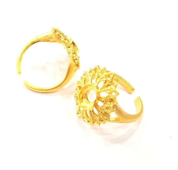Gold Plated Brass G10224 Gold Ring Blank Ring Settings Ring Bezel Base Cabochon Mountings Adjustable 2mm  blank