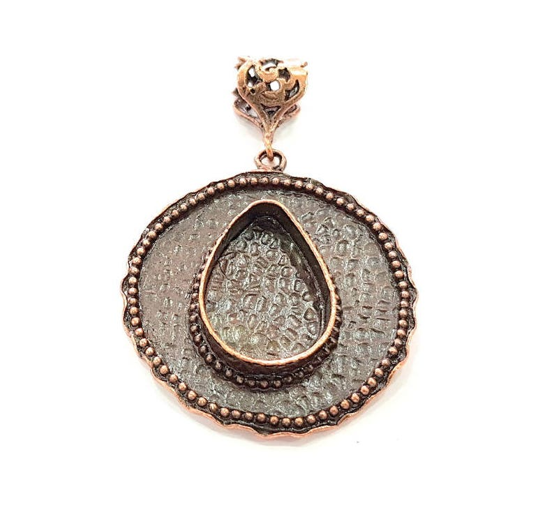 Antique Copper Pendant Blank Mosaic Base Blank inlay Blank Necklace Blank Resin Blank Mountings Antique Copper Plated Brass 42mm G8702