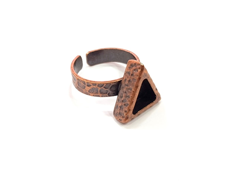9x8mm blank Antique Copper Plated G16324 Copper Ring Blank Setting Cabochon Base inlay Ring Backs Mounting Adjustable Ring Base Bezel