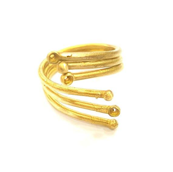 G7510 Raw Brass Ring Blank Bezel Settings Cabochon Base Mountings Adjustable 6mm blank