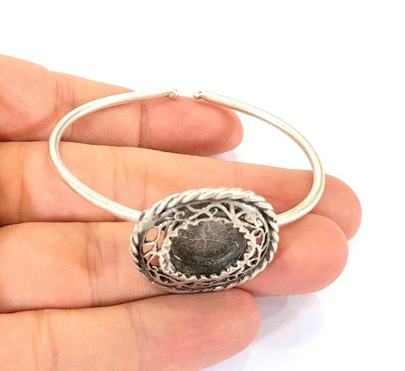 Bracelet Blanks  Cuff Blanks Adjustable Bracelet Blank Antique Silver Plated Brass 15mm Blanks G7820