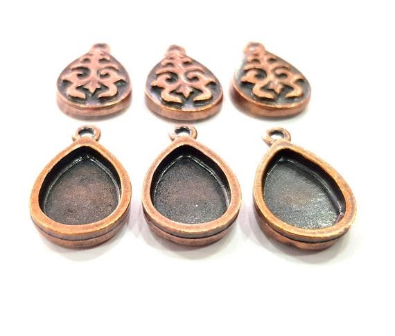 G11966 14mm Antique Copper Connector Pendant Blank Mosaic Base Blank inlay Necklace Blank Resin Blank Mountings Copper Plated Brass