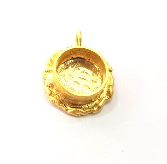 44x40mm blank Gold Pendant Blank Mosaic Base inlay Blank Necklace Blank Resin Blank Mountings Gold Plated Brass G8643