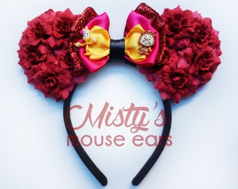 Inspired Beauty and the Beast Lumière and Cogsworth Rose Mouse Ears