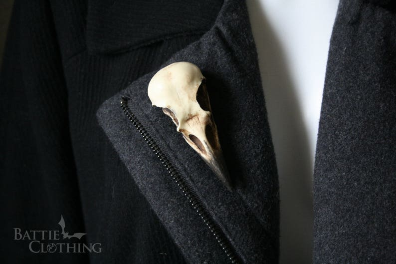 goth Victorian taxidermy jewellery gift by Peculiar by Nature on Etsy Crow skull pin Replica resin bird skull brooch