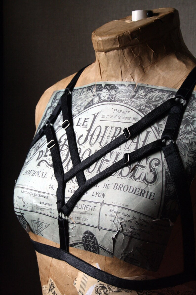 Gothica 2.0 black harness cage bra goth lingerie cupless top