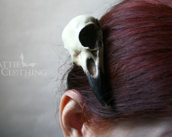 crow skull hair clip, magpie skull, replica resin bird skull goth witch gift