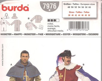Burda Pattern 7976 Men's Historical Costume Musketeer + Page FREE SHIP in North America