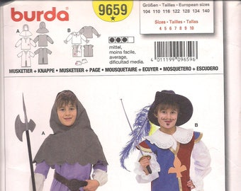 Burda Pattern 9659 Child's Historical Costume Musketeer + Page FREE SHIP in North America