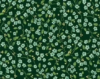 Benartex - 2575-44 - Once Upon a Christmas- Mini Floral Vine - Blue/Green
