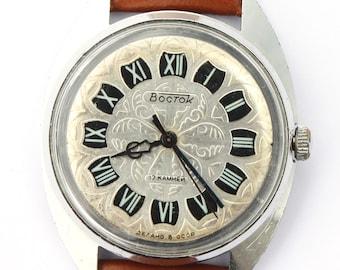 Vintage wrist watch Vostok mens watch men watch mens watch brown